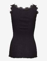 Rosemunde - Silk top regular w/vintage lace - ermeløse topper - black - 2
