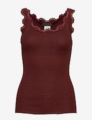 Rosemunde - Silk top regular w/vintage lace - tops zonder mouwen - chestnut red - 0