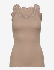 Silk top regular w/vintage lace - CLAY