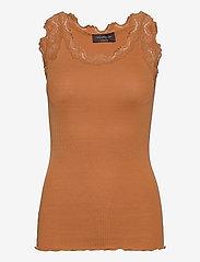 Silk top regular w/vintage lace - DUSTY ORANGE
