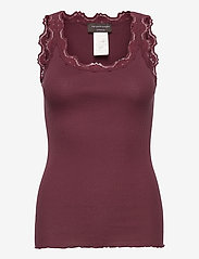 Silk top regular w/vintage lace - GRAPE