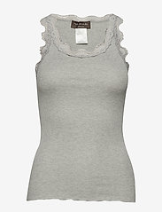 Rosemunde - Silk top regular w/vintage lace - ermeløse topper - light grey melange - 0