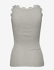 Rosemunde - Silk top regular w/vintage lace - ermeløse topper - light grey melange - 1
