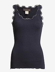 Rosemunde - Silk top regular w/vintage lace - ermeløse topper - navy - 0