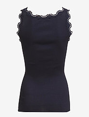 Rosemunde - Silk top regular w/vintage lace - ermeløse topper - navy - 1