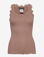 Rosemunde - Silk top regular w/vintage lace - hihattomat topit - nougat brown - 0