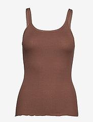 Rosemunde - Silk top w/ elastic band reg, lengt - sleeveless tops - acorn - 0