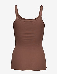 Rosemunde - Silk top w/ elastic band reg, lengt - sleeveless tops - acorn - 1