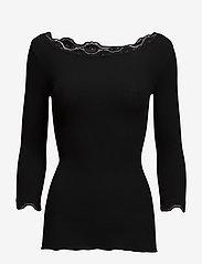 Silk t-shirt boat neck regular w/vi - BLACK