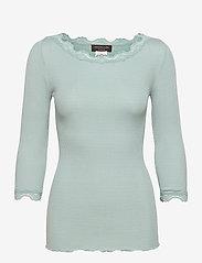 Silk t-shirt boat neck regular w/vi - BLUE MINT