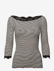 Rosemunde - Silk t-shirt boat neck regular w/vi - długi rękaw - ivory black stripe - 0