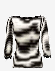 Rosemunde - Silk t-shirt boat neck regular w/vi - długi rękaw - ivory black stripe - 1