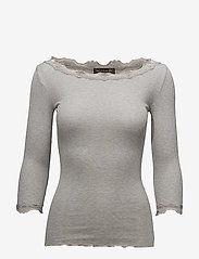 Rosemunde - Silk t-shirt boat neck regular w/vi - langärmlige tops - light grey melange - 0