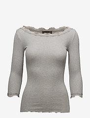 Rosemunde - Silk t-shirt boat neck regular w/vi - langermede topper - light grey melange - 0
