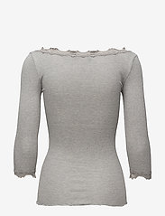 Rosemunde - Silk t-shirt boat neck regular w/vi - hauts à manches longues - light grey melange - 1