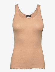 Rosemunde - Silk top regular w/lurex - topi bez piedurknēm - pure sand shine - 0