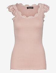 Silk top regular w/wide lace - VINTAGE POWDER