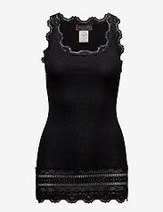 Rosemunde - Silk top medium w/wide lace - ermeløse topper - black - 0