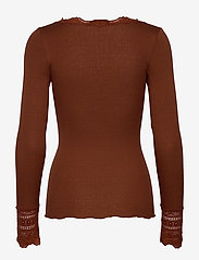 Rosemunde - Silk t-shirt regular ls w/wide lace - long-sleeved tops - amber brown - 1