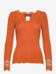 Silk t-shirt w/ lace - BURNT ORANGE