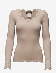 Silk t-shirt w/ lace - CACAO