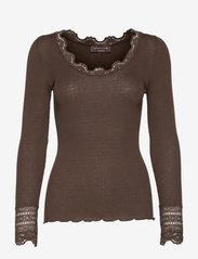 Silk t-shirt w/ lace - SMOAKED OAK