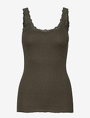 Silk top w/ lace - BLACK GREEN