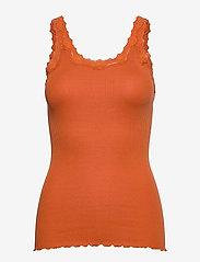 Silk top w/ lace - BURNT ORANGE