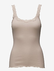 Silk top w/ lace - CACAO