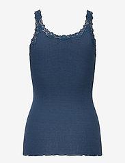 Rosemunde - Silk top w/ lace - ermeløse topper - denim blue - 1