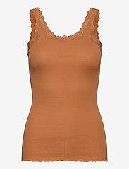 Silk top w/ lace - DUSTY ORANGE