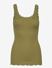 Rosemunde - Silk top regular w/rev vintage lace - sleeveless tops - leaf green - 0