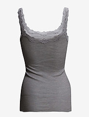 Rosemunde - Silk top regular w/rev vintage lace - ermeløse topper - light grey melange - 1