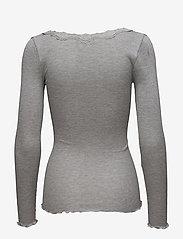 Rosemunde - Silk t-shirt w/ lace - långärmade toppar - light grey melange - 1