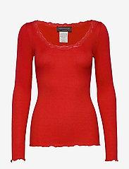 Rosemunde - Silk t-shirt regular ls w/rev vinta - lange mouwen - spicy red - 0