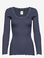 Rosemunde - Silk t-shirt regular ls w/rev vinta - długi rękaw - true navy - 0