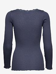 Rosemunde - Silk t-shirt regular ls w/rev vinta - długi rękaw - true navy - 1