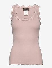 Rosemunde - Silk top regular w/vintage lace - sleeveless tops - vintage powder - 0