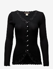 Rosemunde - Silk cardigan regular ls w/rev vint - cardigans - black - 0