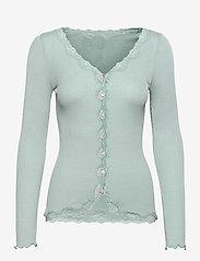 Silk cardigan w/ lace - BLUE MINT