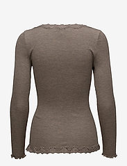 Rosemunde - Silk cardigan ls w/vintage lace - koftor - brown melange - 1