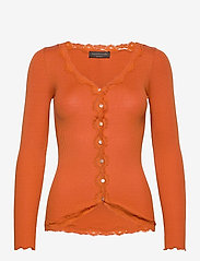 Silk cardigan w/ lace - BURNT ORANGE