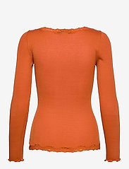 Rosemunde - Silk cardigan ls w/vintage lace - koftor - burnt orange - 1