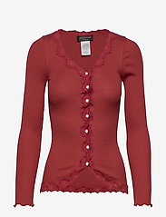 Rosemunde - Silk cardigan regular ls w/rev vint - neuletakit - burnt red - 0