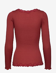 Rosemunde - Silk cardigan regular ls w/rev vint - neuletakit - burnt red - 1