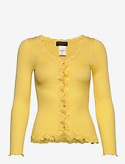 Rosemunde - Silk cardigan regular ls w/rev vint - cardigans - corn - 0