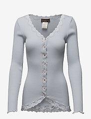Silk cardigan w/ lace - HEATHER SKY