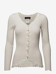 Silk cardigan w/ lace - IVORY