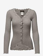 Rosemunde - Silk cardigan regular ls w/rev vint - kardigany - light grey melange - 0
