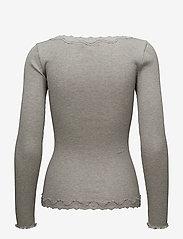 Rosemunde - Silk cardigan regular ls w/rev vint - cardigans - light grey melange - 1